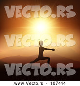 Vector of a Silhouetted Woman Doing Yoga Against an Orange Sunset by KJ Pargeter