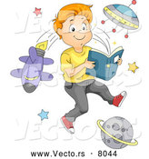 Vector of a Smiling Cartoon Boy Reading an Outer Space Book by BNP Design Studio
