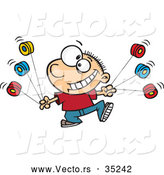 Vector of a Smiling Cartoon Boy Using Multiple Yo Yo's by Toonaday