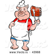 Vector of a Smiling Cartoon Pig Chef Holding up Tasty BBQ Ribs with Tongs by LaffToon