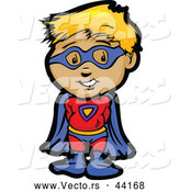 Vector of a Smiling Cartoon Super Hero Boy Posing by Chromaco
