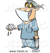 Vector of a Smiling Cartoon Surgeon Holding a Saw and Brain Dripping Fluid by Toonaday