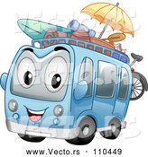 Vector of a Smiling Cartoon Tour Bus Mascot with Beach Gear by BNP Design Studio