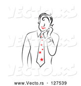 Vector of a Smiling Guy with Red Lips, Talking on a Phone - Version 4 by Prawny