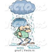 Vector of a Stressed Cartoon Man Walking Under an Umbrella and Rain Cloud by Gnurf