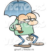 Vector of a Stressed Cartoon Man Walking Under an Umbrella by Gnurf