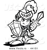 Vector of a Strong Cartoon Knight Holding up a Shield and a Sword - Coloring Page Outline Version by Chromaco