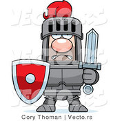 Vector of a Strong Red Armored Knight with Shield and Sword by Cory Thoman