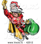 Vector of a Super Cartoon Santa Flying with Bag Full of Presents by Zooco