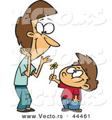 Vector of a Thoughtful Cartoon Boy Giving Mom a Flower by Toonaday