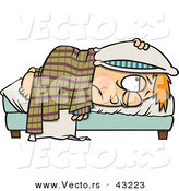 Vector of a Tired Cartoon Boy Miserably Resting in Bed with a Pillow over His Head by Toonaday