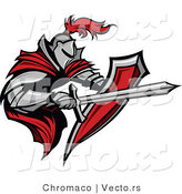 Vector of a Tough Armored Knight with Shield Fighting with a Sword by Chromaco