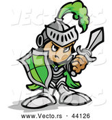 Vector of a Tough Cartoon Green Knight Armed with a Sword and Protective Shield by Chromaco