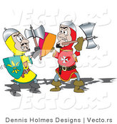 Vector of a Two Knights Fighting Each Other with Axes by Dennis Holmes Designs