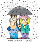 Vector of a Unhappy Cartoon Man and Woman Sharing an Umbrella in the Rain by Toonaday