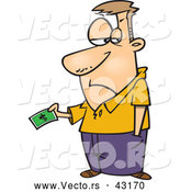 Vector of a Upset Cartoon Man Handing over His Last Dollar Bill by Toonaday