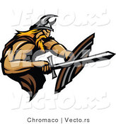 Vector of a Viking Fighting with Sword and Using a Shield by Chromaco