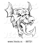 Vector of a Warrior Welsh Dragon Mascot Head - Black and White by AtStockIllustration