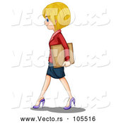 Vector of a White Business Girl Walking by Graphics RF