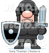 Vector of a White Knight in Black Armor Holding Shield and Sword by Cory Thoman