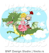 Vector of a Young Cartoon Knight and Princess Riding a Dragon by BNP Design Studio