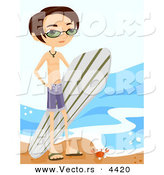 Vector of a Young Cartoon Surfer Boy Carrying His Surfboard Beside a Beach with a Crab by BNP Design Studio