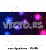Vector of Abstract Banner Design with Virus Cells Depicting Covid 19 Pandemic by KJ Pargeter