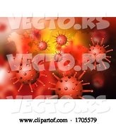 Vector of Abstract Virus Cells on a World Map Background by KJ Pargeter