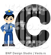 Vector of Alphabet Letter C with a Cop Boy by BNP Design Studio