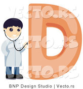 Vector of Alphabet Letter D with a Doctor Boy by BNP Design Studio
