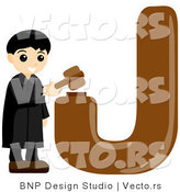 Vector of Alphabet Letter J with a Judge Boy by BNP Design Studio