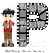 Vector of Alphabet Letter P with a Photographer Boy by BNP Design Studio