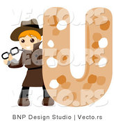 Vector of Alphabet Letter U with an Undercover Agent Boy by BNP Design Studio