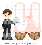 Vector of Alphabet Letter W with a Waiter Boy by BNP Design Studio