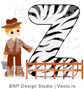 Vector of Alphabet Letter Z with a Zookeeper Boy by BNP Design Studio