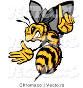 Vector of an Aggressive Bee Pointing Finger-Up While Gritting Teeth and Preparing to Sting by Chromaco