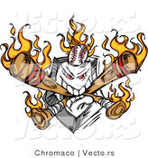Vector of an Aggressive Home Plate Eating Flaming Baseball Bats and Ball by Chromaco