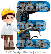 Vector of an Alphabet Letter E with an Electrician Boy by BNP Design Studio