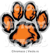 Vector of an Orange Tiger Paw Print by Chromaco