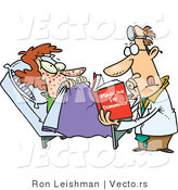 Vector of an Uneducated Cartoon Doctor Reading Medical Book Beside Nervous Sick Patient in a Hospital by Toonaday