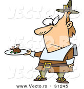 Vector of an Unhappy Cartoon Pilgrim Man Looking at His Meagre Meal on a Plate by Toonaday