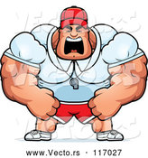 Vector of an Unstoppable Cartoon Muscular Male Sports Coach Yelling by Cory Thoman