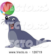 Vector of and Entertaining Sea Lion Balancing a Colorful Beach Ball on His Nose by Yayayoyo
