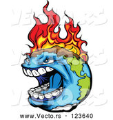 Vector of Angry Earth Screaming While Burning from Global Warming Fires by Chromaco