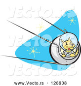Vector of Astronaut Dpg Flying a Rocket in Outer Space by Xunantunich