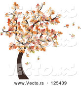 Vector of Autumn Tree and Leaves Falling by MilsiArt