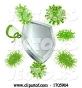Vector of Bacteria Virus Shield Cells Medical Concept by AtStockIllustration