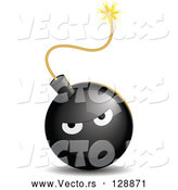 Vector of Bad Tempered Black Bomb with a Lit Fuse by Oligo
