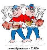 Vector of Bbq Pigs with Plates of Ribs, Pulled Pork Burgers and Poultry by LaffToon