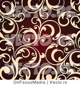 Vector of Beige Vine Scroll Design over Red BackgroundBeige Vine Scroll Design over Red Background by OnFocusMedia